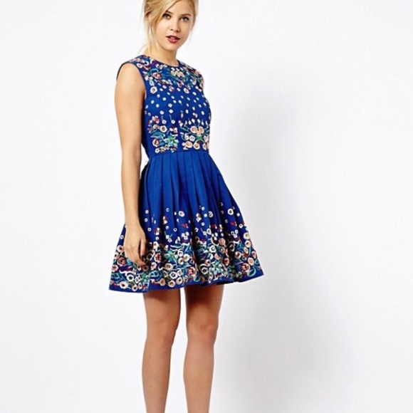 ASOS Dresses & Skirts - ASOS Blue Beaded Embroidered Dress Size 6